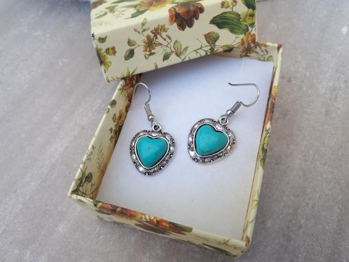 סט עגילים טורקיז מתנה לאשה. תכשיטים אנרגטיים מתנה לאשה
