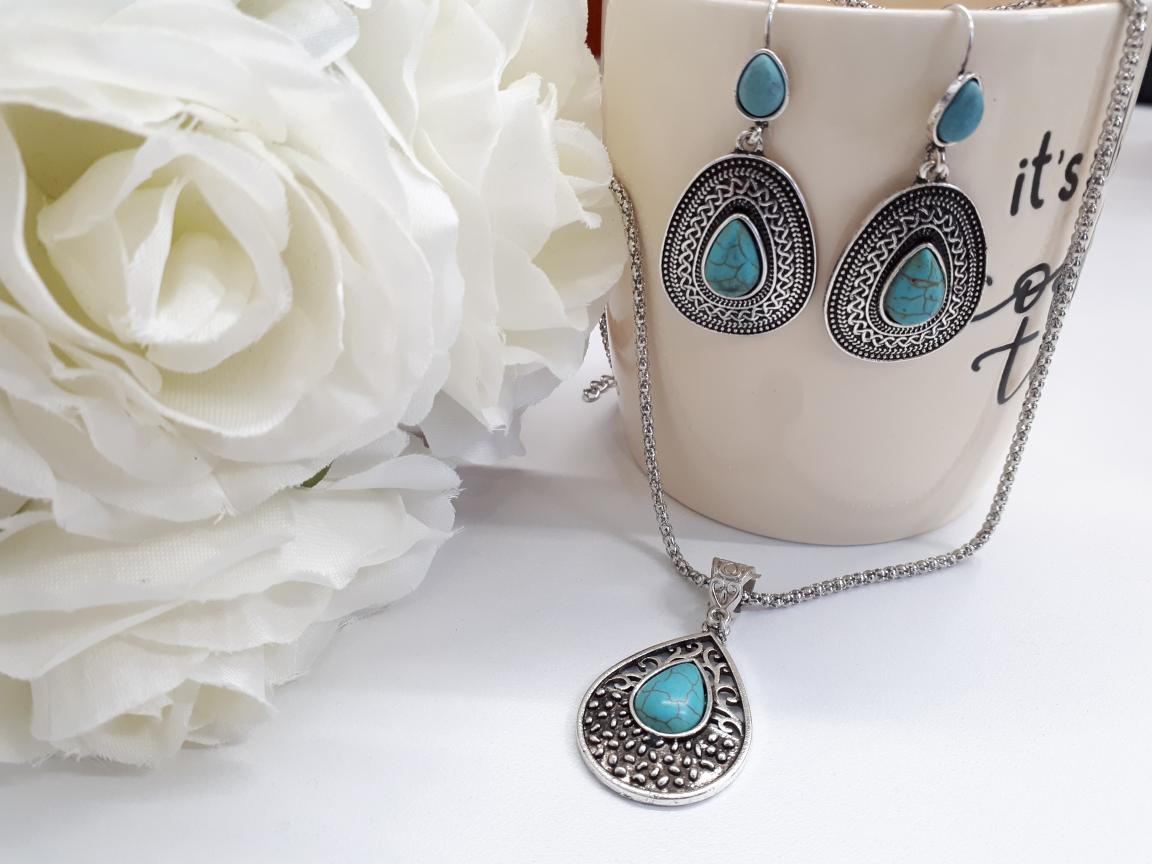 תליון טורקיז כסף ועגילים מתנה לאשה. תכשיטים אנרגטיים מתנה לאשה
