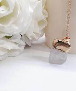 שרשרת זהב קוורץ מתנה לאשה. קוורץ אנרגטי טבעי