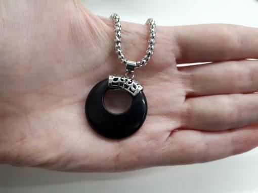 שרשרת טורמלין שחור עיגול