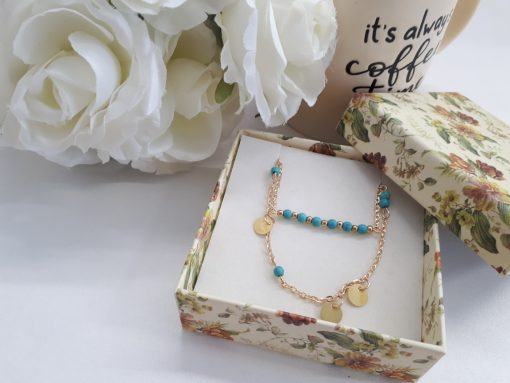 שרשרת זהב כפולה עם חרוזים