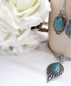תכשיטי טורקיז לאשה. ערכת מתנה תכשיטים לאישה