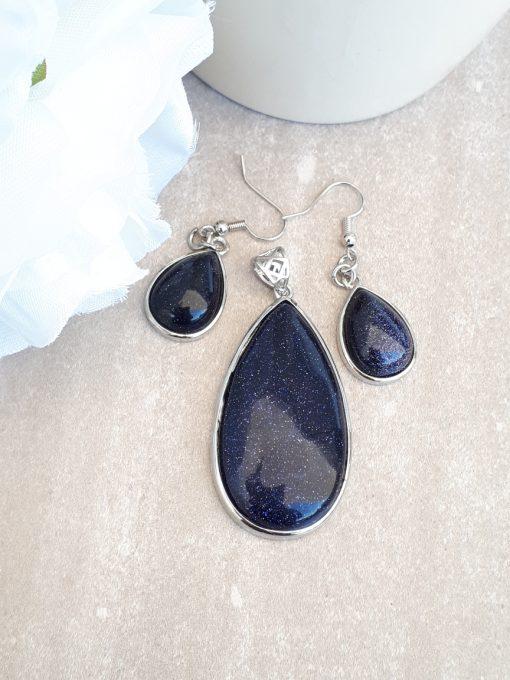 עגילי גולדסטון כחול