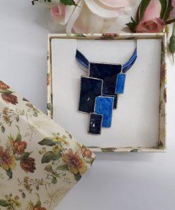 עגילי מלבנים כחולים