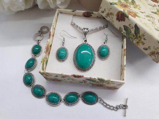עגיל אובלי טורקיז ירוק