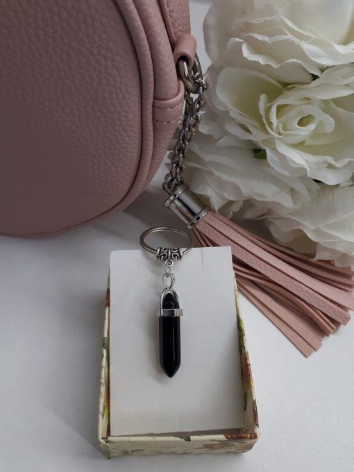 מחזיק מפתחות אבן טורמלין שחורה פוינט