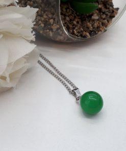 תליון כדור ג'ייד ירוק עם כיפת כסף מהודרת לשחרור חסימות