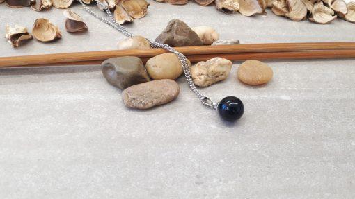 תליון כדור טורמלין שחור עם כיפת כסף מהודרת לחיזוק יכולות תקשור