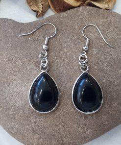 עגילים אבן חן שחורה - אבן טורמלין שחור
